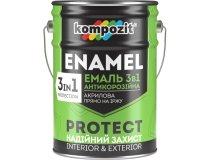 Емаль антикорозійна 3в1, Kompozit PROTECT, Біла (RAL 9016), 10 л